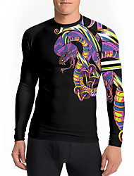cheap -21Grams Men's Long Sleeve Compression Shirt Running Shirt Top Athletic Athleisure Spandex Quick Dry Moisture Wicking Breathable Fitness Gym Workout Running Active Training Exercise Sportswear Snake