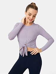cheap -Women's Crew Neck Yoga Top Crop Top Summer Split Cropped Solid Color Purple Green Nylon Yoga Gym Workout Running Tee Tshirt Long Sleeve Sport Activewear Quick Dry Breathable Comfortable Stretchy