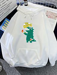 cheap -Women's Plus Size Tops Hoodie Sweatshirt Letter Animal Drawstring Pocket Long Sleeve V Neck Streetwear Daily Weekend Polyster Fall Blue Purple / Print