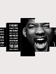 cheap -5 Panels Wall Art Canvas Prints Painting Artwork Picture Will Smith Quotes Painting Home Decoration Decor Rolled Canvas No Frame Unframed Unstretched