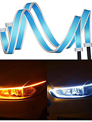 cheap -2PCs 24 inch Car LED Headlight Strip Flexible Dual Color LED Headlight Surface Strip Tube Light Daytime Running Lights Waterproof Turn Signal Light Switchback Flowing Decorative Lamp for 12V Car