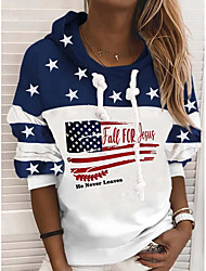cheap -Women's Hoodie Sweatshirt American US Flag Text Stars Print Casual Sports 3D Print Active Streetwear Hoodies Sweatshirts  White
