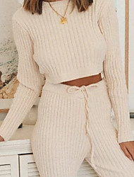 cheap -Women's Breathable Loungewear Sets Home Street Daily Going out Basic Elastic Waist Pure Color Acrylic Simple Fashion Sport Sweater Pant Fall Winter Crew Neck Long Sleeve Long Pant Not Specified