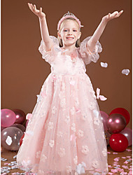 cheap -Princess Ankle Length Flower Girl Dresses Party Tulle Half Sleeve Jewel Neck with Beading