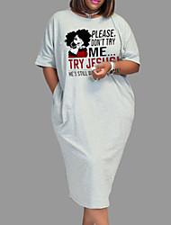 cheap -Women's Plus Size Dress Shift Dress Midi Dress Short Sleeve Portrait Letter Split Print Casual Fall Summer Light Gray L XL XXL 3XL 4XL