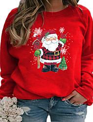 cheap -Women's Plus Size Tops Pullover Sweatshirt Cartoon Print Long Sleeve Crewneck Streetwear Christmas Christmas Daily Polyster Fall Winter Yellow Blushing Pink