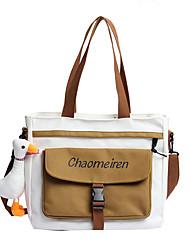 cheap -Women's Bags Canvas Synthetic Tote Top Handle Bag Zipper Plain Geometric Vintage Daily Outdoor Retro Leather Bag Tote Khaki Black