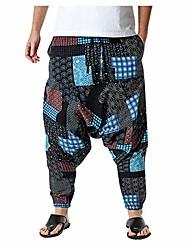 cheap -men's harem pants elastic waist cotton linen baggy hippie pants comfort casual yoga lounge pants