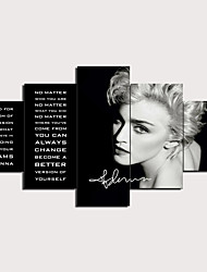 cheap -5 Panels Wall Art Canvas Prints Painting Artwork Picture MADONNA Quotes Painting Home Decoration Decor Rolled Canvas No Frame Unframed Unstretched