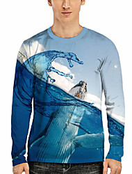 cheap -Men's Tee T shirt 3D Print Graphic Fish Sea 3D Print Long Sleeve Casual Tops Casual Fashion Designer Comfortable Light Blue