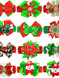 cheap -12 pcs/set Christmas Bow 4.5cm Hairband Baby Hairpin Headband Dual-use Girl Hair Accessories