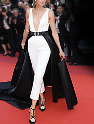 cheap -Jumpsuits Celebrity Style Elegant Engagement Formal Evening Dress V Neck Sleeveless Court Train Satin Stretch Fabric with Splicing 2021