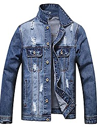 cheap -ripped retro denim jacket for men fashion sherpa jean jacket authentic stretch classic distressed jeans coat