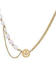 cheap -Beaded Necklace Harness Necklace Men's Women's Classic Pearl Imitation Pearl Titanium Steel Joy Luxury Natural European Cool Gold 40 cm Necklace Jewelry 1pc for Wedding Work Club irregular