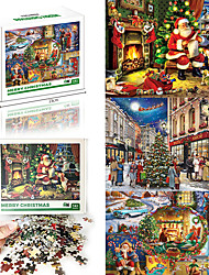 cheap -1000 pcs Santa Suits Jigsaw Puzzle Gift Stress and Anxiety Relief Adorable Parent-Child Interaction Cardboard Paper Christmas Santa Claus Christmas Tree Kid's Adults' Toy Gift