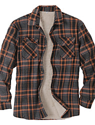 cheap -Men Jacket Street Daily Fall Winter Short Coat Regular Fit Windproof Warm Casual Streetwear Jacket Long Sleeve Plaid / Check Quilted Pocket Brown