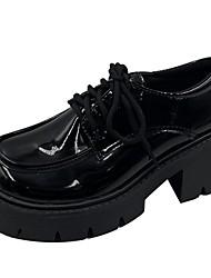 cheap -Women's Lolita Shoes Platform Round Toe PU Solid Colored Black