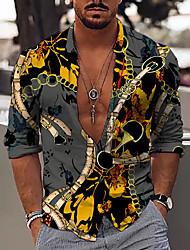 cheap -Men's Shirt 3D Print Color Block Chains Print 3D Print Button-Down Long Sleeve Street Tops Fashion Classic Breathable Comfortable Gray