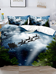 cheap -Christmas Decor 3-Piece Duvet Cover Set Hotel Bedding Sets Comforter Cover with Soft Lightweight Thicken Fabric, Include 1 Duvet Cover, 2 Pillowcases for Double/Queen/King(1 Pillowcase for Twin/Single)