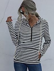 cheap -Women's Hoodie Sweatshirt Pullover Half Zip Front Pocket Hoodie Stripes Sport Athleisure Hoodie Sweatshirt Top Long Sleeve Breathable Soft Comfortable Everyday Use Street Casual Daily Outdoor