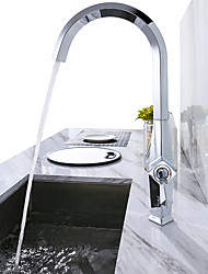 cheap -360 Degree Swivel Modern Single Hole Outdoor Kitchen Faucet Single Handle Chrome Bar Sink Faucet with Hot & Cold Mixer Function Full Copper Body