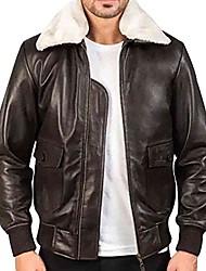 cheap -g1 flight leather jacket, men's a2 bomber leather jacket, aviator air force leather jacket for men (mens leather aviator jacket with fur collar, xs)
