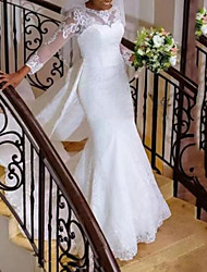 cheap -A-Line Wedding Dresses Jewel Neck Sweep / Brush Train Lace Tulle Long Sleeve Formal Romantic Luxurious with Appliques 2021