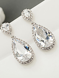 cheap -Women's AAA Cubic Zirconia Earrings Pear Cut Drop Luxury Romantic Fashion Boho Earrings Jewelry White For Wedding Gift Holiday Engagement Festival 1 Pair