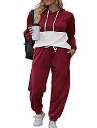 cheap -Women's Plus Size Tops Hoodie Sweatshirt Set Color Block Drawstring Pocket Long Sleeve V Neck Basic Streetwear Fall Blue Blushing Pink Wine Big Size L XL XXL 3XL 4XL / Print