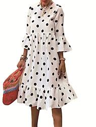 cheap -Women's A Line Dress Knee Length Dress White 3/4 Length Sleeve Polka Dot Ruffle Fall Round Neck Casual 2021 S M L XL XXL 3XL
