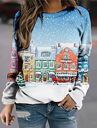 cheap -Women's Sweatshirt Pullover 3D Landscape Print Christmas Casual Sports 3D Print Active Streetwear Hoodies Sweatshirts  Blue