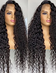 cheap -150% 180% 13x4 Lace Transparent Density Lace Front Human Hair Wig 30 Inches Deep Wave Curly Brazilian Frontal Wigs for Black Women