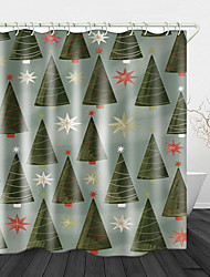 cheap -Christmas Tree Printed Waterproof Fabric Shower Curtain Bathroom Home Decoration Covered Bathtub Curtain Lining Including hooks.