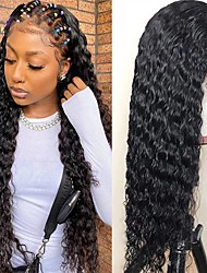 cheap -150% 180% 13x4 Wave Lace Front Human Hair Wigs for Women 13x4 HD Transparent Lace Frontal Wig Brazilian Remy Human Hair Wig