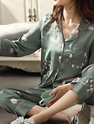 cheap -Women's Breathable Pajamas Sets Home Bed Button Geometic Letter Polyester Simple Soft Sweet T shirt Pant Fall Winter Spring V Wire Long Sleeve Long Pant Buckle
