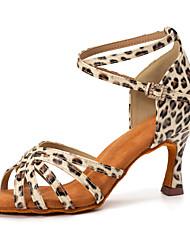 cheap -Women's Latin Shoes Salsa Shoes Dance Shoes Professional Leopard Pattern / Print Cuban Heel Open Toe Black / Gold Black / Red Leopard Buckle Adults' Satin