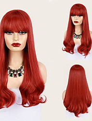 cheap -Cosplay Costume Wig Synthetic Wig Cosplay Wig Wavy Bouncy Curl With Bangs Wig 26 inch Red Synthetic Hair 26 inch Women's Fashionable Design Soft Adjustable Red / Heat Resistant