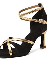cheap -Women's Latin Shoes Salsa Shoes Dance Shoes Heel Cuban Heel Open Toe Dark Brown Red Black Buckle Adults' Satin
