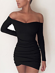 cheap -Women's A Line Dress Short Mini Dress Blushing Pink Gray Black Long Sleeve Solid Color Ruched Fall Off Shoulder Casual 2021 S M L XL XXL