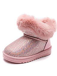 cheap -Boys' Girls' Boots Snow Boots Leather Waterproof Big Kids(7years +) Little Kids(4-7ys) Daily Walking Shoes Indoor Pink Black Beige Fall Winter / Mid-Calf Boots / Color Block