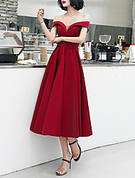 cheap -A-Line Minimalist Elegant Homecoming Cocktail Party Dress Off Shoulder Short Sleeve Tea Length Satin with Sash / Ribbon Beading 2021