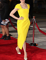 cheap -Sheath / Column Celebrity Style Elegant Wedding Guest Formal Evening Dress Square Neck Short Sleeve Ankle Length Satin with Split 2021