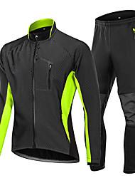 cheap -Men's Long Sleeve Windbreaker Cycling Jacket with Pants Fleece Jacket Winter Polyester Blue Green Bike Clothing Suit Thermal Warm Waterproof Windproof Sports Mountain Bike MTB Road Bike Cycling