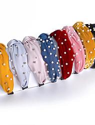 cheap -8 Pcs/set Similation Pearl Hairbands for Women Korean Velvet Wide Bezel Satin Fabric Top Cross Headbands Hair Accessories