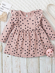 cheap -Kids Little Girls' Dress Heart A Line Dress Casual Daily Holiday Ruched Ruffle Dusty Rose Midi Long Sleeve Basic Casual Cute Dresses Fall Winter Regular Fit 2-6 Years