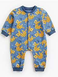 cheap -Baby Boys' Jumpsuits Active Casual Daily Street Indoor Weekend Blue Blushing Pink Khaki Lion Cat Sun Flower Floral Animal Print Long Sleeve