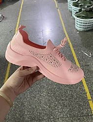 cheap -Women's Trainers Athletic Shoes Wedge Heel Round Toe Daily Synthetics Sparkling Glitter Solid Colored Red Pink White