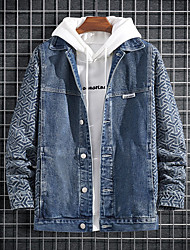 cheap -Men's Jacket Street Daily Going out Fall Regular Coat Single Breasted Turndown Regular Fit Breathable Sporty Casual Streetwear Jacket Long Sleeve Geometric Pocket Patchwork Blue / Outdoor