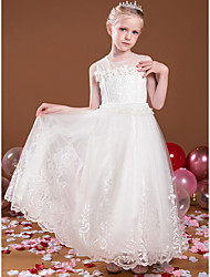 cheap -Princess Ankle Length Flower Girl Dresses Party Tulle Sleeveless Jewel Neck with Beading
