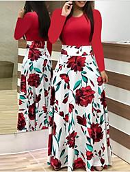 cheap -Women's A Line Dress Maxi long Dress Blushing Pink Rainbow White Black Red Long Sleeve Floral Print Fall Round Neck Casual 2021 S M L XL XXL 3XL 4XL 5XL / Party Dress